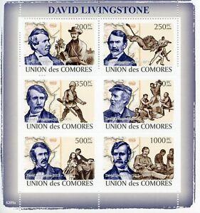 Comoros Famous People Stamps 2008 MNH David Livingstone Exploration 6v M/S
