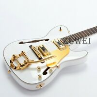 F Hole Semi Hollow Body TL Electric Guitar   White Color Archtop