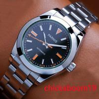 40mm PARNIS Saphirglas Schwarzes Zifferblatt Miyota Automatic Herren Men's Watch