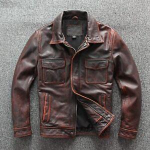Men's Biker Vintage Motorcycle Cafe Racer Distressed Brown Real Leather Jacket