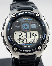 Casio AE-2000W-1AV Mens 200M WR Watch 5 Alarms World Time 10 Year Battery New