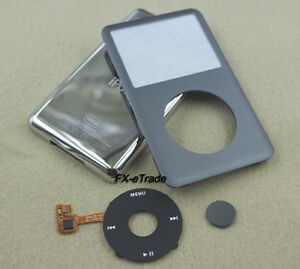 Gray Faceplate Housing Case Black Clickwheel Button for iPod 7th Classic 160GB
