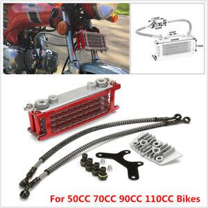 Aluminum Oil Cooler Radiator For 50 70 90 110CC Dirt Bike Racing Motorcycle Red