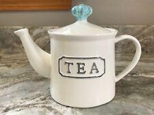 White With Blue And Gray Teapot THL. Holds 32 Ounces. New.