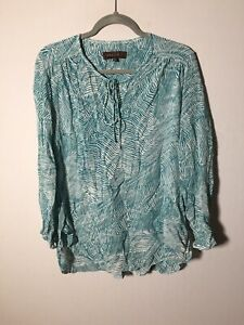 Maggie T Womens Teal And White Patterned Blouse Top Size 16 Long Sleeve Viscose