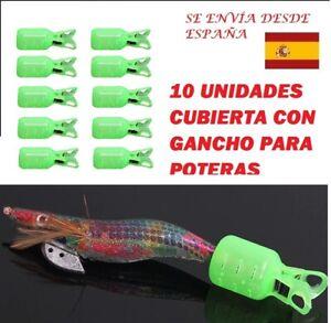 10 Uds Protector de cebo, potera, calamar con gancho. Cubierta resitente