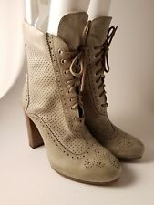 BELSTAFF Woman's Leather Stone White Ankle Wing Tip Boots Rear Zip Sz US 5.5 /36