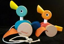 Rare Janod~ Of France ~Pull-Along Ducks Wooden Toy Duckling