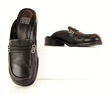 Mootsies Tootsies Black Leather Slip On Loafers Mules Heels Shoes 7 M (S454)