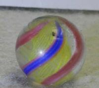 #10391m German Handmade Yellow Latticino Swirl Marble .57 Inches