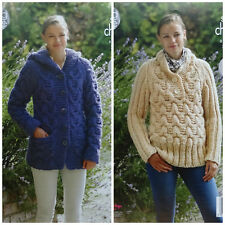 KNITTING PATTERN Ladies Cable Hooded Jacket & Cable Jumper Super Chunky 4874