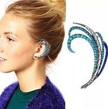Silver Blue Crystal Statement Punk Cuff Earring Left Pierced Ear UK