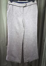 Boden 100% Linen Herringbone Brown Low Cut Trousers UK12 EU40 W30 L27.5