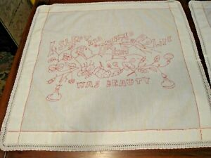 """Pair Vintage Red Work on White Linen Tea Cloths Lord Byron Quote 28"""" Square"""