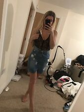 Size 12 Miss Pap Dark Blue Distressed Denim Skirt High Waisted Bodycon CARLA