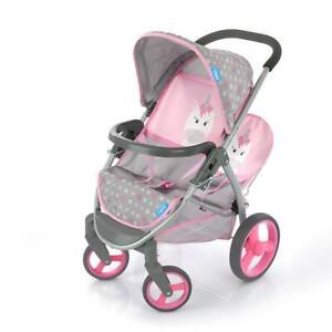 Hauck Malibu Duo Unicorn Twin Baby Doll Stroller Travel Buggy Pram