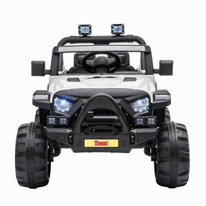 12V Kids Ride On Toy Electric Battery Powered Off-Road Truck W/ LED Lights White