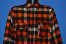 vintage 40s Woolrich Red Black Orange Checked Plaid Button Front Shirt Medium M