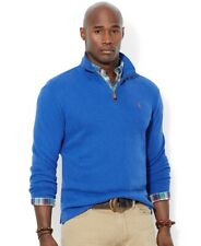 NEW POLO RALPH LAUREN CLASSIC BLUE RIBBED KNIT COTTON HALF ZIP SWEATER SIZE 1XB