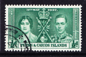 TURKS & CAICOS IS 1937 GVI SG191a 1/2d Coronation deep green fine used. Cat £40