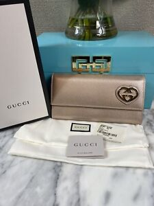 NEW GUCCI  Lovely Heart  Long Wallet Leather Gold 251861