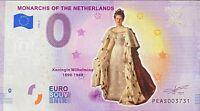 BILLET 0  EURO NETHERLANDS MONARCHS WILLELMINA  COULEUR  2019  NUMERO DIVERS