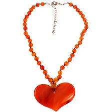 Semi precious agate orange tone stone bead large heart pendant choker necklace