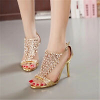 Women Rhinestone Prom Shoes Ladies Peep High Heel Wedding Bridal Evening Sandals
