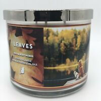BATH & BODY WORKS LEAVES 3 WICK 14.5 oz CANDLE NEW FREE SHIPPING
