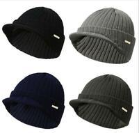 Men Women Soft Warm Winter Knit Wool Hat Stripe Visor Brim Peaked Beanie Hat Cap