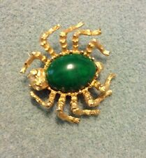 Jelly Belly Spider PIN Insect  BUG Gold Tone Retro Green Stone vintage