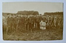 More details for postcard military medics in khaki uniform & peaked caps at camp real photo rp