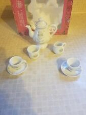 Collectible 1990 Precious Moments 8 Piece Miniature Tea Set in Original Box