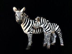 Schleich Figurines #14392 Zebra Mare + #14393 Zebra Foal Pair, RETIRED, RARE!