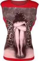 NEW WOMENS ANGEL WINGS GLITTER PRINT SLEEVELESS VEST TOP LADIES T SHIRT SIZE8-14