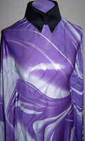 Purple and White Silver Metallic Foil Lycra Stretch Fabric 1 Yard 18 Inches