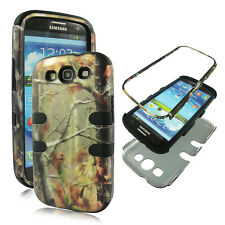 Bk Camo Conifer Hybrid 3 in 1 Samsung Galaxy S  3 ,III Case Outer Hard Cover