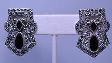 VINTAGE 1950s LARGE ORNATE STERLING SILVER ONYX & MARCASITE CLIP EARRINGS