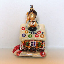 Gingerbread House Sweet Tooth Christmas Ornament Joy to the World Glass Glitter