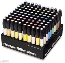 NEW Chartpak AD100 Tri-Nibbed 100 Color Permanent Marker Set ALVIN Professional