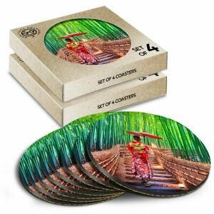 8 x Boxed Round Coasters - Bamboo Forest Japanese Woman #21183