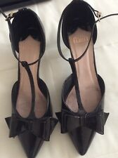 Faith Black Patent Kitten Heels Size 7
