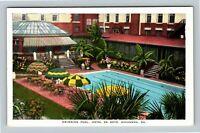 Savannah GA, Hotel De Soto Swimming Pool Patio Gardens, Vintage Georgia Postcard