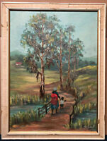 M.Frost Oil Painting Undated African Indian Scene Africa India Asia Oil on Board