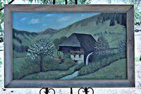 Folk Art Bucolic Landscape, Large Oil on Masonite, O. Benz 1948, Framed