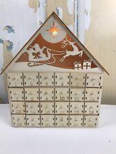 Christmas Lighted Advent Tabletop Calendar Wood