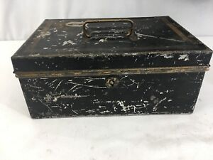 Antique Black Gold Metal Cash Box