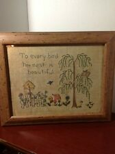 "Embriodered Faux Framed Print:""To Every Bird Her Nest Is Beautiful"" 12 x 15"""