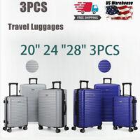 3PCS Luggage Travel Set Bags ABS Trolley Hard Shell Suitcase W/TSA lock