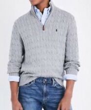 POLO RALPH LAUREN High-Neck Cable-knit Cotton Sweater Fawn Gray Size Medium NWT